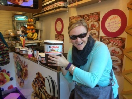 Two things they take very seriously here ... Cheese and Nutella! Waffle with Nutella and vanilla ice cream? Yes please!